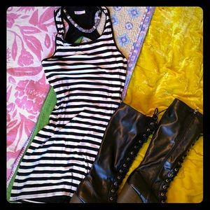 Trina Turk Cutout Black/White Striped Summer Dress